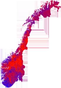Når kartet heller viser blokkfargar enn det største partiet ser ein langt fleire nyansar.