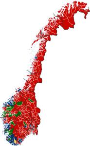 Eit tradisjonelt noregskart der kommunane er farge etter største parti. Ap ser enormt store ut.