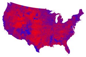 Det lilla USA. Her ser ein tydeleg at landet ikkje er så polarisert som det tradisjonelle kartet viser.