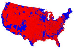 Slik blir amerikanske valresultat vanlegvis visualisert. Landet ser svært polarisert ut.